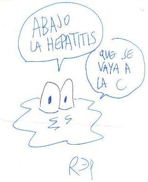 Dibújo de Miguél Rep sobre el virus de la hepatitis c
