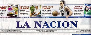 Tapa del Diario La Nación del 13 de Junio de 2005