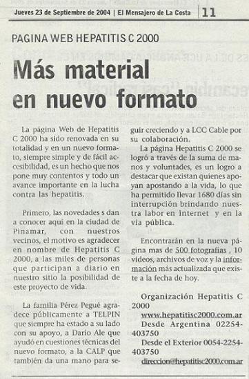 Artículo del diario El Mensajero de la Costa