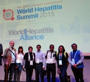 Algunos de los/las participantes de HepaRed LAC en Word Hepatitis Summit Escocia 2015. Importantes encuentros de trabajo.