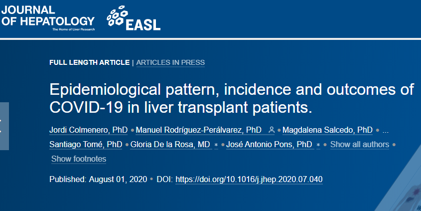 Journal of hepatology, portada estudio trasplantados hepáticos y Covid 19